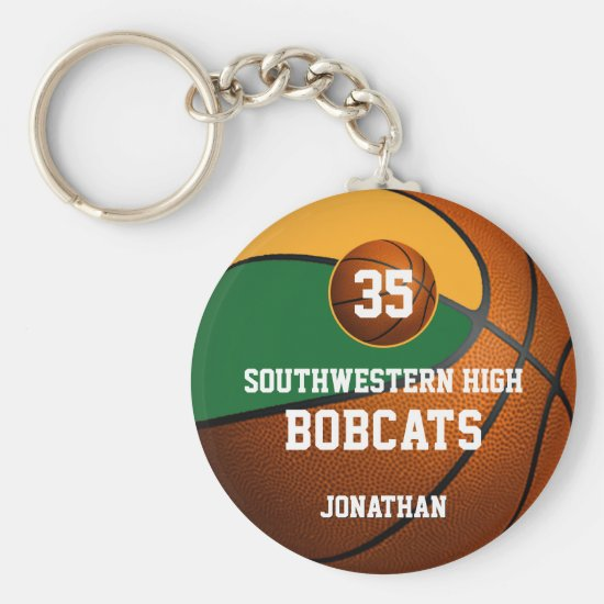 Green gold boys' sports basketball team spirit keychain