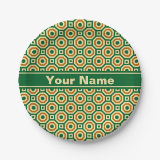 Green/Gold/Brown Nested Octagons Paper Plate