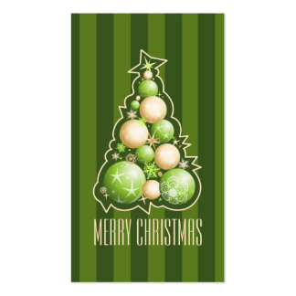 Green & Gold Bubbles Christmas Tree Gift Tag Business Card Template