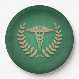 Green + Gold Caduceus Medical Symbol Doctor/Nurse Paper Plate