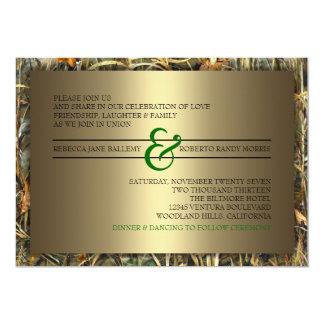 Green & Gold Camo Wedding Invitations