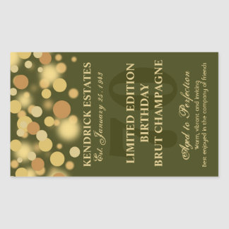 Green Gold Champagne Bubbles Birthday Label 750ml Rectangular Sticker