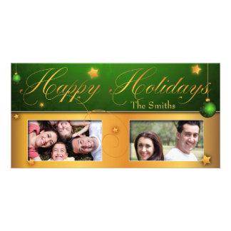 Green Gold Christmas Bulb Happy Holiday Photo Card