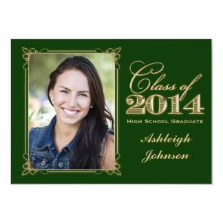 Green, Gold Class of 2014 Photo Graduation Invite