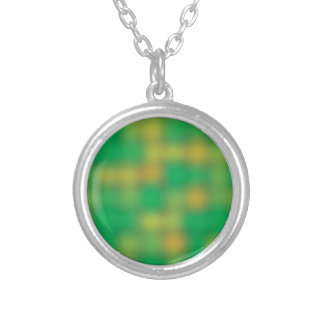 Green & gold color blur round pendant necklace
