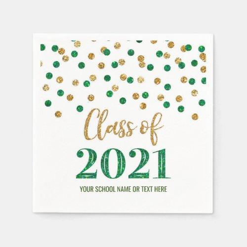 Green Gold Confetti Class of 2021 Graduation Napkins