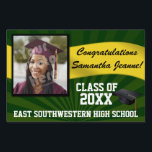 "Green/Gold Custom Photo Graduation Yard Sign<br><div class=""desc"">Congratulations to the class of (your year). Customize this personalized yard banner sign with your graduate&#39;s photo,  name,  year and school or other custom text. Green and yellow gold high school or college colors.</div>"