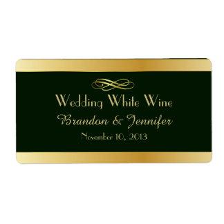Green & Gold Custom Wedding Mini Wine Labels