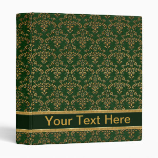 Green & Gold Damask Pattern 3 Ring Binder