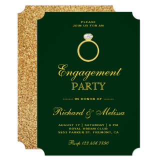 Green Gold Diamond Ring Engagement Party Invite