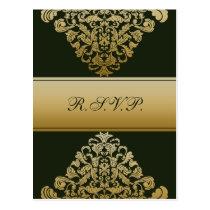 green gold elegance RSVP cards