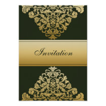 green gold elegance wedding invitation
