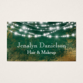 Green Gold Elegant Festive Hanging String Lights Business Card