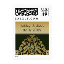 green gold elegant wedding stamps