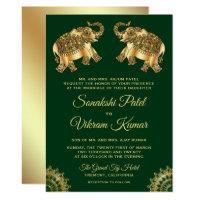 Green Gold Ethnic Elephants Indian Wedding Invite