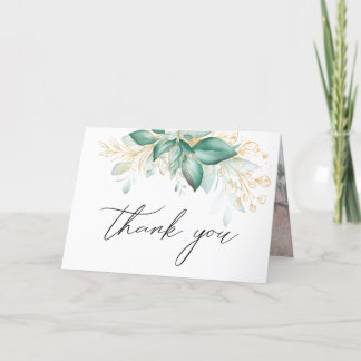 green gold eucalyptus greenery thank you card