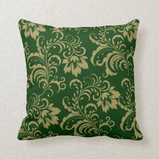 Green Gold Floral Swirl Throw Pillow