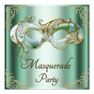 Green Gold Flourishes Mask Masquerade Party Card