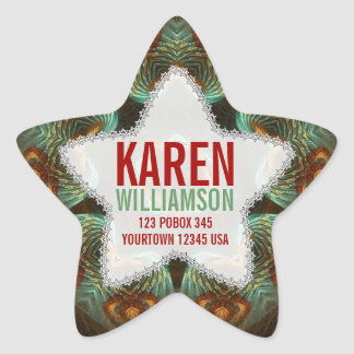 Green & Gold Fractal Art Custom Name Star Stickers