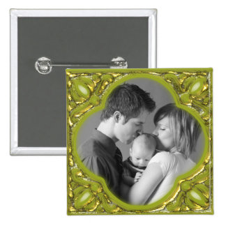 Green & Gold Frame 2 Inch Square Button