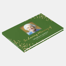 Green Gold Funeral Condolence | Photo Memorial Guest Book