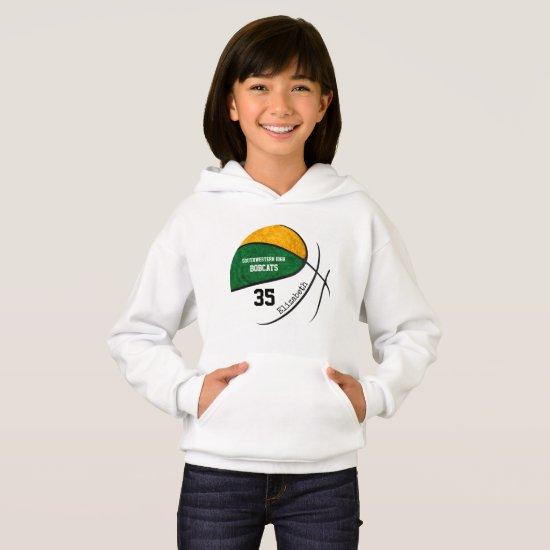 green gold girls' basketball team colors hoodie