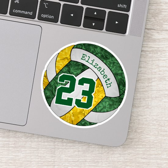green gold girls' volleyball w player name number sticker