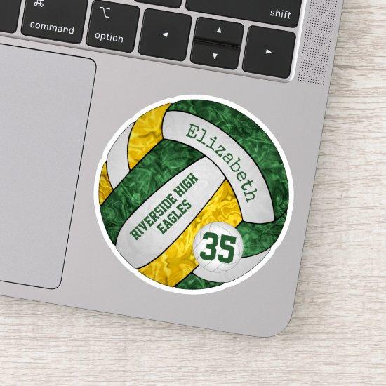 green gold girls' volleyball w school mascot name sticker