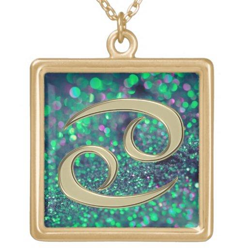 Green Gold Glitter Cancer Zodiac Sign Necklace