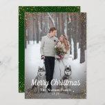 "Green Gold Glitter Merry Christmas Photo Holiday Card<br><div class=""desc"">Green Gold Glitter Merry Christmas Photo Holiday Card</div>"