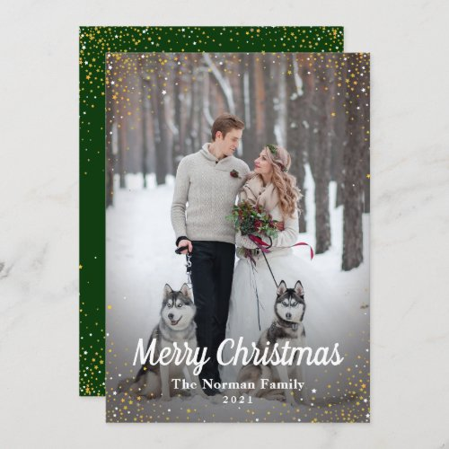 Green Gold Glitter Merry Christmas Photo Holiday Card