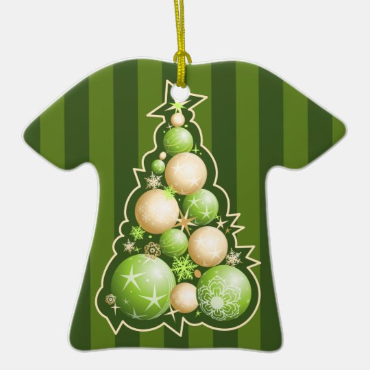 Green & Gold Globes Christmas Tree Ceramic Ornament