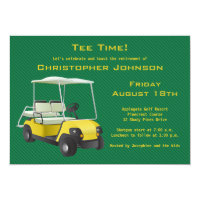 Green Gold Golf Cart Retirement Party Invitation