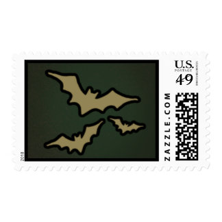 Green & Gold Halloween Bats Postage