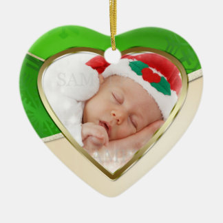 Green Gold Heart Shaped Christmas Photo Template Ceramic Ornament