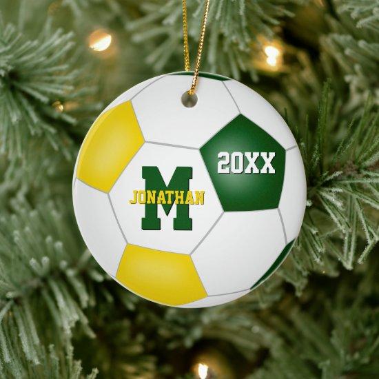 green gold his her school team colors soccer ceramic ornament