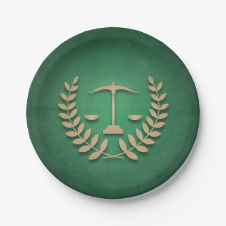Green+Gold Justice Scales Legal/Law Graduation Paper Plate