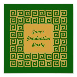 Green & Gold Key Pattern Party Invitation