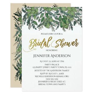 Green Gold Leaf Bridal Shower Card