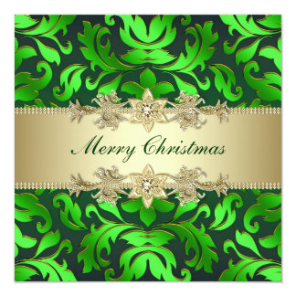 Green Gold Leaf Corporate Christmas Party Card