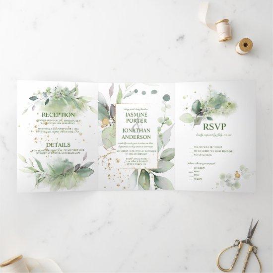 Green & Gold Leaves Botanical Wedding   Tri-Fold Invitation