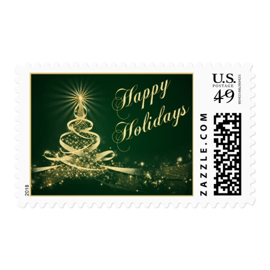 Green, Gold Lighted Tree Happy Holidays Postage