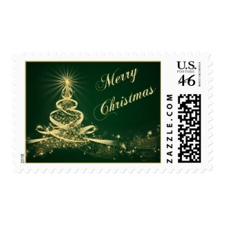 Green, Gold Lighted Tree Merry Christmas Postage