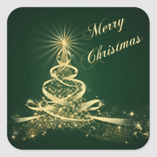 Green, Gold  Lighted Tree Merry Christmas Sticker