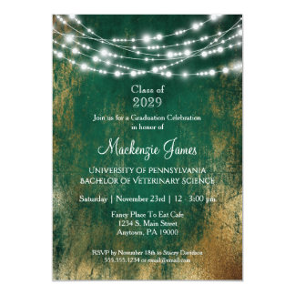 Green Gold Lights Graduation Party Invitation