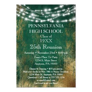 Green Gold Lights School Class Reunion Invitation
