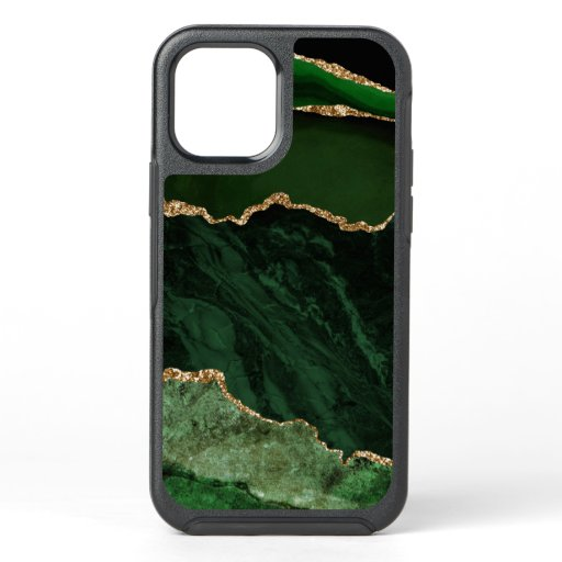 Green Gold Marble Agate Elegant Stylish OtterBox Symmetry iPhone 12 Case