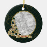 Green & Gold Merry  Christmas Tree Photo Ornament