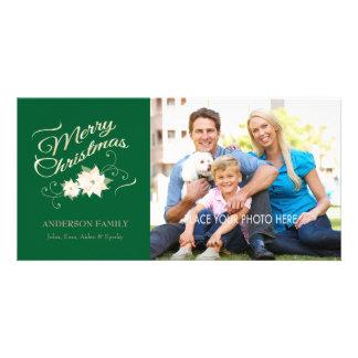 Green & Gold Merry Christmas & White Poinsettias Photo Card