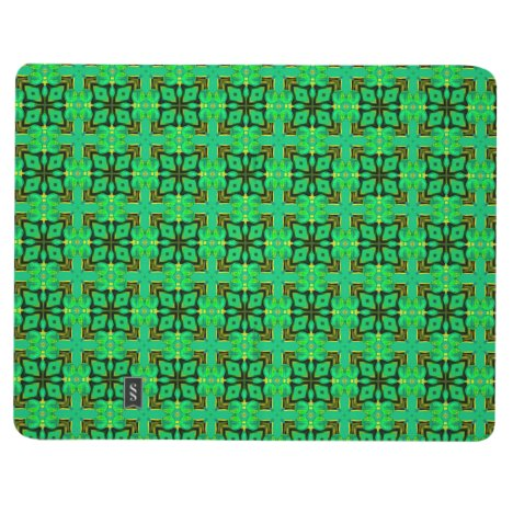 Green Gold Moroccan Lattice Abstract Diamond Quilt Journal